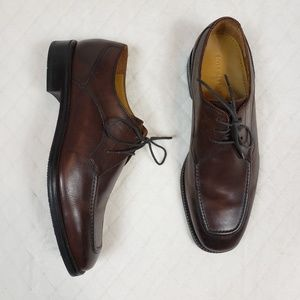 COLE HAAN Brown Leather Lace Up Derby Dress Shoes